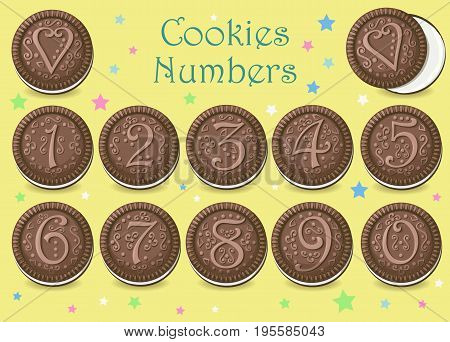 Chocolate Round Cookies with graceful decor and numerals. illustration