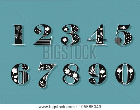 Set of black and white floral numerals. illustration