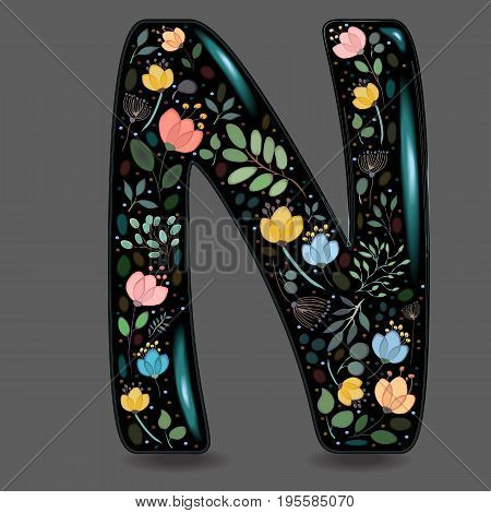 Letter N with Floral Decor. Black glared symbol. Colorful graceful flowers plants and blurs with watercolor effect. Gray background. Vector Illustration