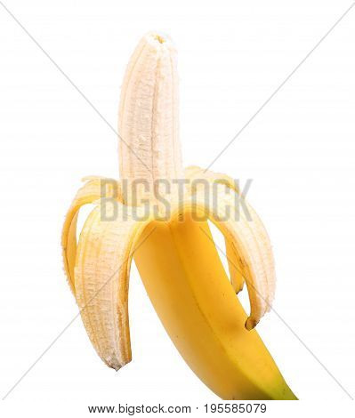 Fresh peeled banana, isolated on a white background. Vitamins. Tropical fruits. Fresh and tasty bananas. Half-peeled banana. Organic bananas. Tropical fruit concept.
