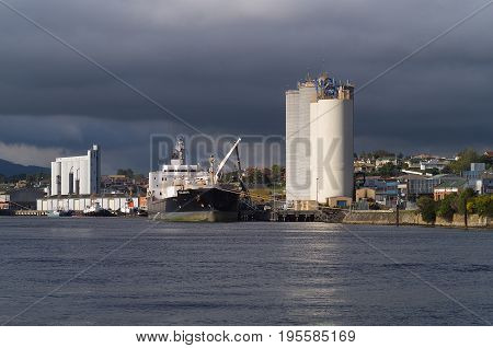 Devonport, Australia-October 26, 2005. Views of the Mersey River and ships at the wharf, Devonport, Tasmania