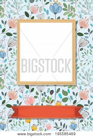 Floral Frame for custom photo. Watercolor flowers and plants. Yellow frame. Red banner for custom text