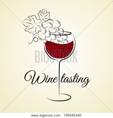 Wine glass with grape. Hand drawn concept for winery products harvest wine list wine tasting menu and emblem design. Vector illustration on beige. Wine glass logo template.