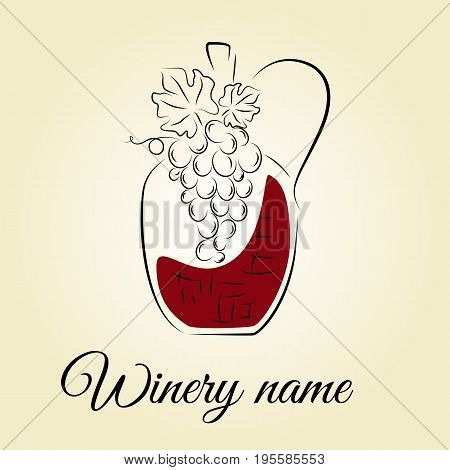 Wine bottle with grape. Hand drawn concept for winery products harvest wine list wine tasting menu and design logo. Vector illustration on beige.
