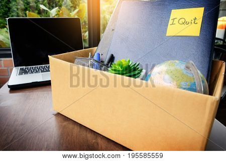 Office Cardboard Box .employee Dismissed From Office, Resignation Concept