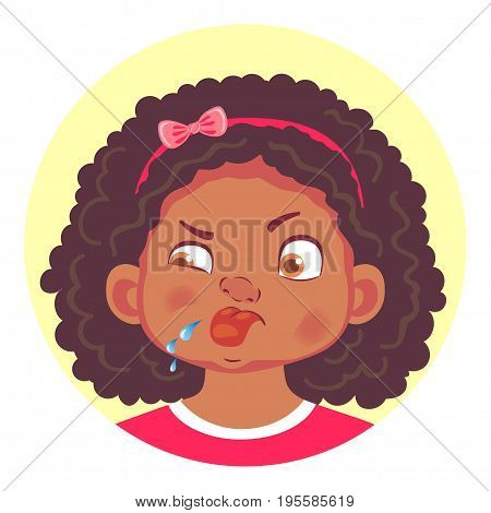 African girls emotions. Facial expression. Set of emoticons. Flat vector illustration. Tongue