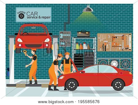 Car service and repair center or garage with worker exterior building with the various departments vector illustration..