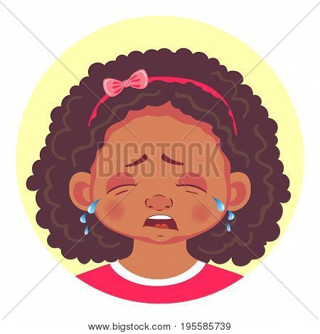 African girls emotions. Facial expression. Set of emoticons. Flat vector illustration. Cry