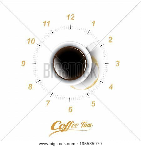 A realistic cup of black coffee and coffee cup stain with coffee clock concept, transparent vector