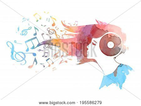 Conceptual watercolor background of a woman's vinyl head , hair turning into musical notes ,Vector