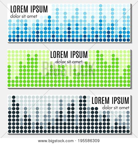 Set of colorful abstract header banners with equalizers and place for text. Vector backgrounds for web design.