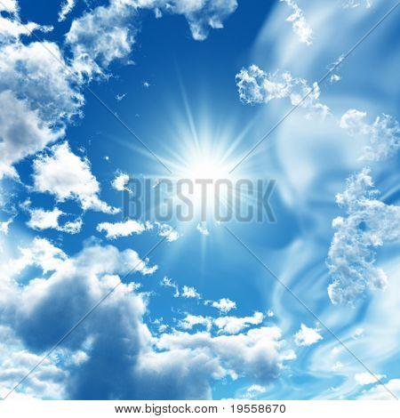 蓝蓝的天空白云-数字图稿。