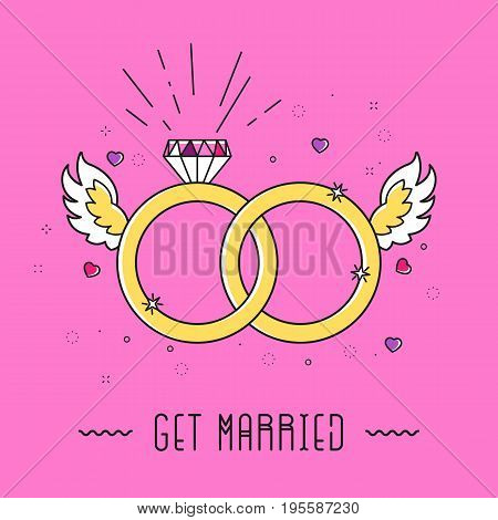 Cartoon marriage card with diamond, rings, wings, heart and text GET MARRIED in 90's graphic design style. Simple outline Illustration