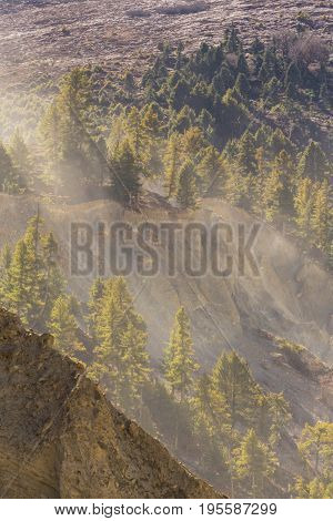 Dust and erosion in the mountains in Manang region, Himalaya