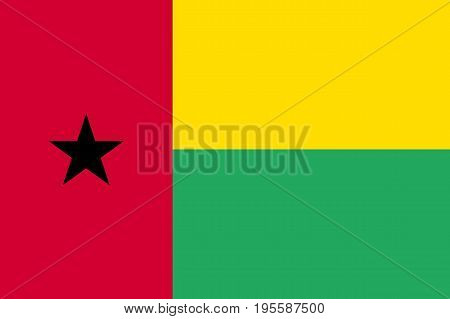Guinea Bissau national flag and ensign, independence symbol. Vertical red line, black five-pointed star, two horizontal lines, yellow and green. Flat style vector illustration