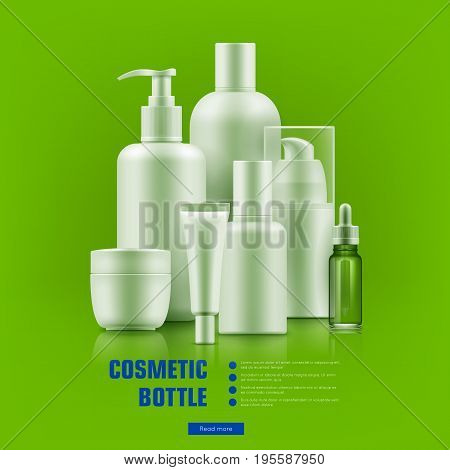 Cosmetic bottle realistic. Packaging with silver caps mockup for personal care best brands. Medical beauty concept. Realistic vector illustration on green background