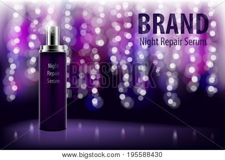 Poster for the promotion of cosmetic moisturizing and nourishing premium product. Shiny violet night repair serum bottle on a dark background with soft bokeh. Cosmetic moisturizing brand product.
