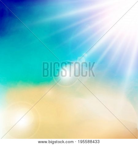 White cloud detail in blue sky with sunshine daylight vector illustration background with copy space