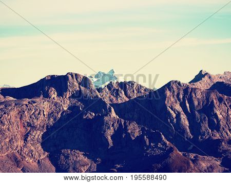 Rocky Peak Of Alps Mountain In Sunny Winter Day. Frozen Bilberry And Rock Under  Snow