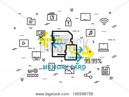 Memory card vector illustration. Sd and micro sd cards with elements: photocamera action camera tablet cloud storage save pictogram etc line art.