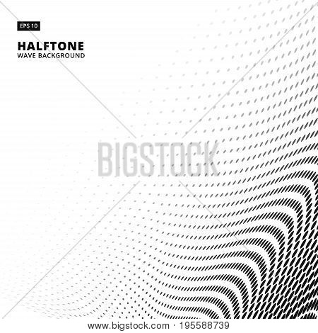 Black and White color wave halftone on white background with copy space vector illustration
