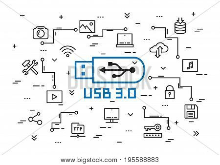USB 3.0 elements vector illustration. Portable data storage set: desktop usb flash drive laptop cloud storage multimedia files etc line art concept.