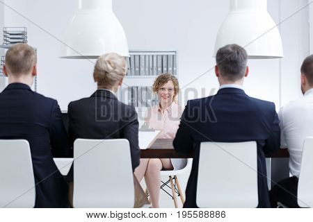 Woman searching for a job during job interview