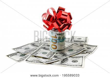 Dollars with red bow isolated on white