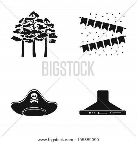 Trees, flags and other  icon in black style. pirate hat, kitchen hood icons in set collection.