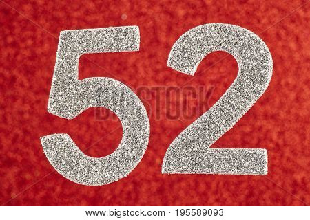 Number fifty-two silver over a red background. Anniversary. Horizontal