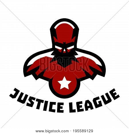 Logo superhero. Superman costume. Justice League. Muscular body. Vector illustration Flat style