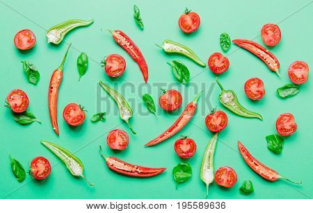 Cutted Chili Pepper And Basil With Tomatoes