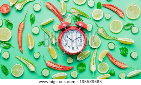 Chili Pepper And Alarm Clock With Lemons