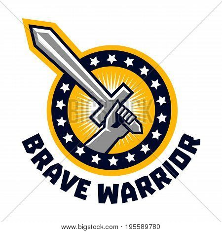 Logo brave warriors. A hand holding a sword. The circle is surrounded by asterisks. The emblem on the topic of the Middle Ages, weapons, war. Vector illustration. Flat style.