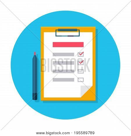 Checklist flat icon. Check list on the clipboard and pen. Flat internet icon in rounded shape. To do list with marks. Vector colored illustration.
