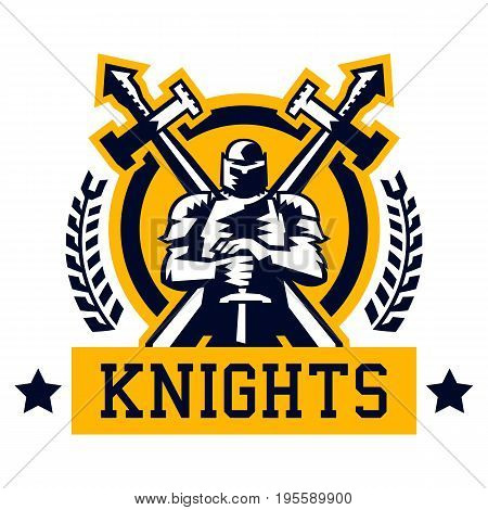 Knight logo. Warrior in the iron and heavy armor. Swords cross. The emblem on the Middle Ages and the war. Vector illustration. Flat style