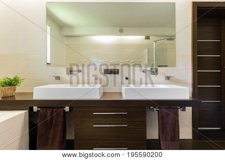 Modern Bathroom With Dark Furniture
