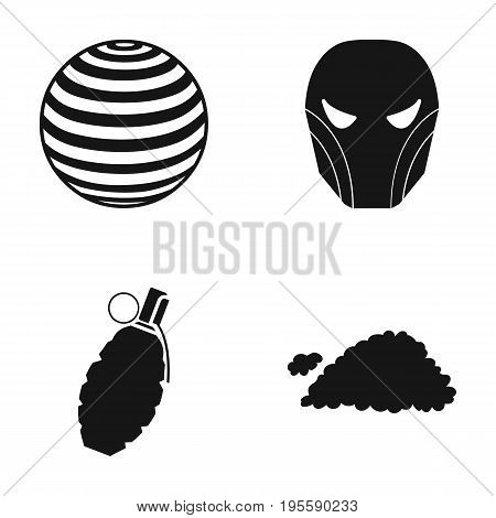 Ball, mask and other  icon in black style. grenade, cloud icons in set collection.