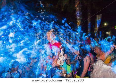 Side, Turkey - June, 25, 2017: People in a public open foam party in Side in 2017