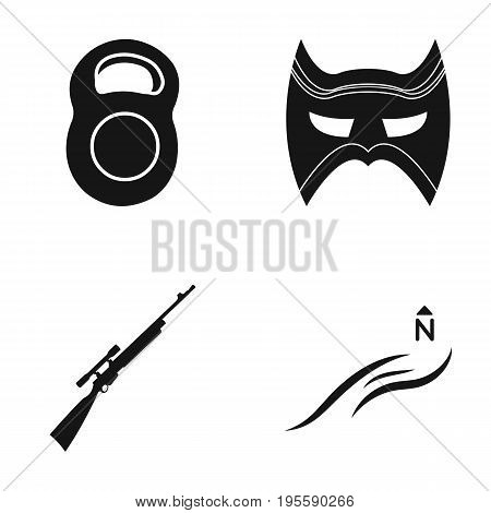 Weight, Mask and other  icon in black style. Rifle, North Wind icons in set collection.
