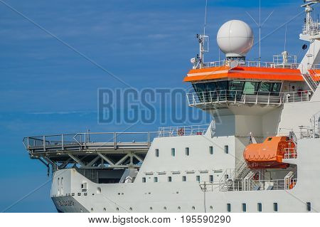 Labuan,Malaysia-June 26,2017:Bridge & navigation station of offfshore seismic ship in Labuan island,Malaysia with task to search for oil and gas reserves below the seabed of the world's oceans.