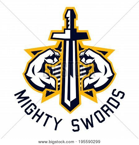 Logo mighty swords. Muscular arms, sport and fitness. Vector illustration. Flat style
