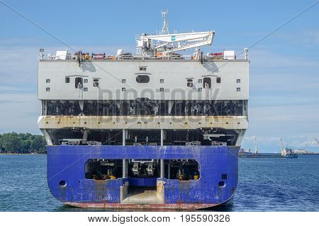 Labuan,Malaysia-June 26,2017:Offshore seismic ship WesternGeco known as Amazon Conqueror in Labuan island,Malaysia with task to search for oil and gas reserves below the seabed of the world's oceans.