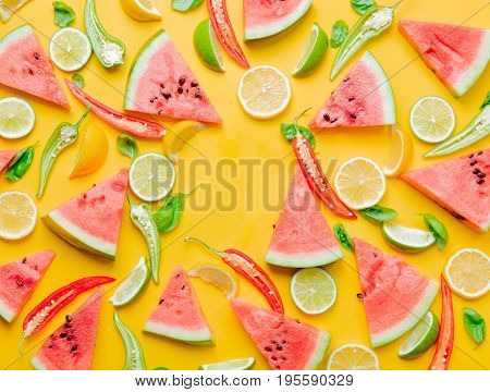 Watermelon And Chili Pepper With Lemons