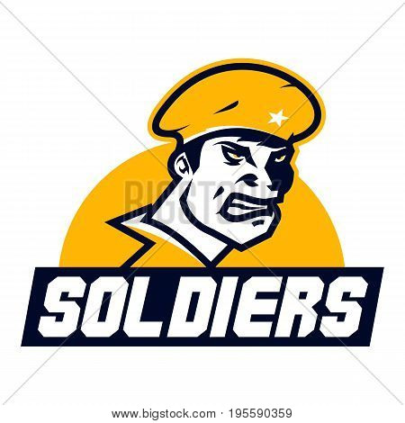 Logo American soldier. Cap, facial image, a special form. The emblem on the theme of war, battle. Vector illustration. Flat style.