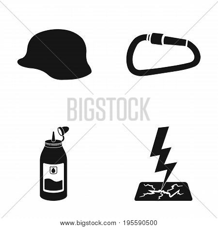 Helmet, carbine and other  icon in black style. grease, lightning icons in set collection.