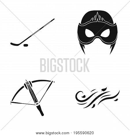 Stick with washer, mask and other  icon in black style. crossbow, wind direction icons in set collection.