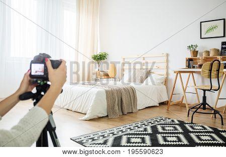 Architect Making A Photo Of Interior Arrangement