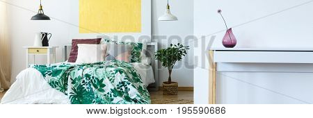 Multicolored Bedroom With Plants
