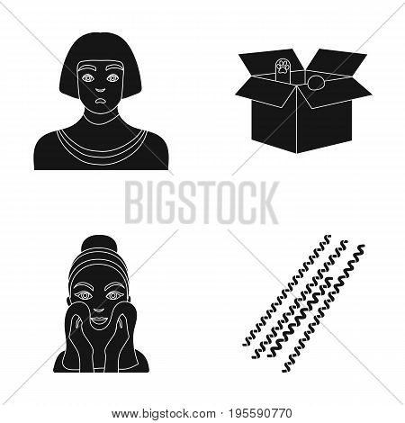 Egyptian, box with animals and other icon in black style. facial treatment, pasta icons in set collection.